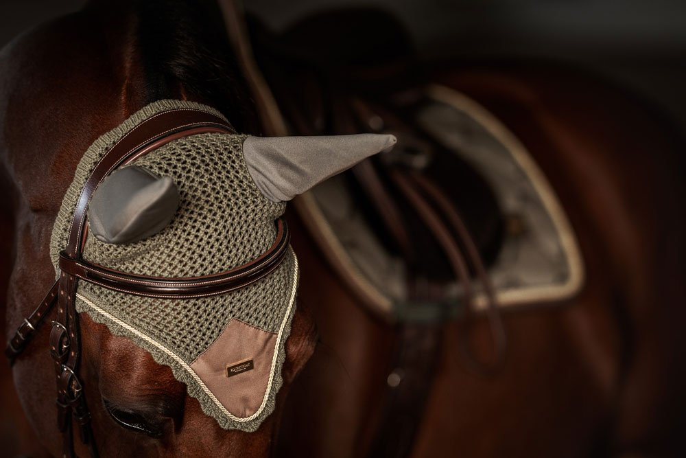 Equestrian Stockholm Ear Bonnet - Golden Olive - The Dressage Store