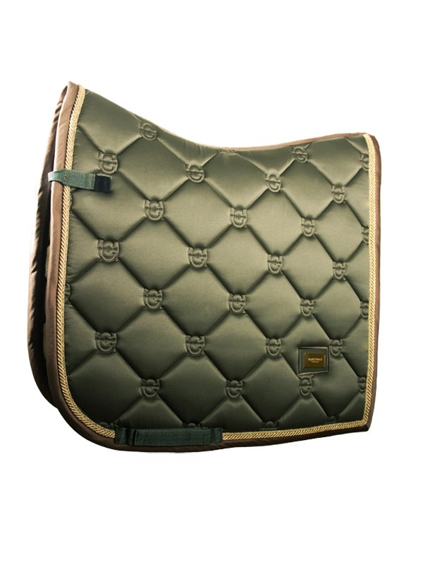 Equestrian Stockholm Dressage Saddle Pad - Golden Olive - The Dressage Store