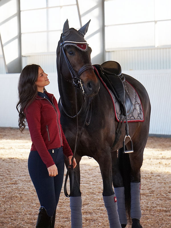Equestrian Stockholm Saddle Pad - Grey Bordeaux - The Dressage Store