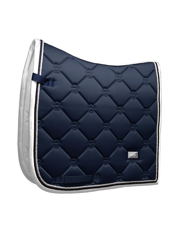 Equestrian Stockholme Dressage Saddle Pad - Midnight White Edge - The Dressage Store