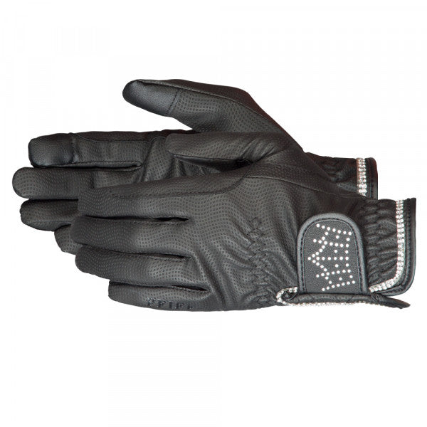 PFIFF Riding Gloves Crystal Crown - Black - The Dressage Store