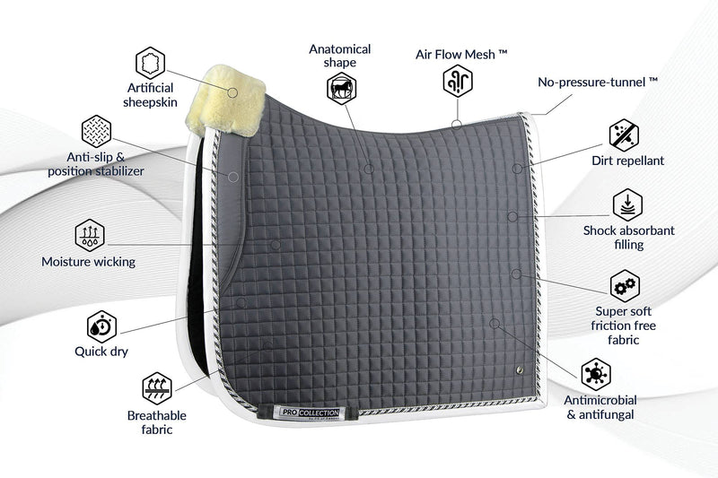 PS of Sweden PRO Collection Dressage Saddle Pad - Grey - The Dressage Store