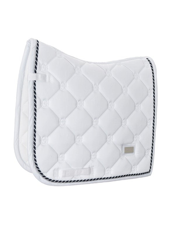 Equestrian Stockholm Dressage Saddle Pad - White Perfection (Blue and Silver Piping) - The Dressage Store