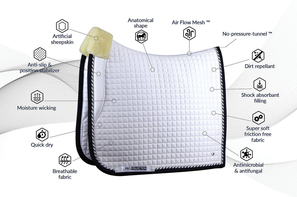 PS of Sweden PRO Collection Dressage Saddle Pad - White/Black - The Dressage Store