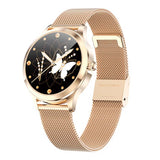 Elegant LW07 Stainless Steel Gold Ladies Fitness Tracker & Smartwatch with beautiful butterfly clockface and support for Whatsapp, Facebook and more message notifications. IP68 waterproof.