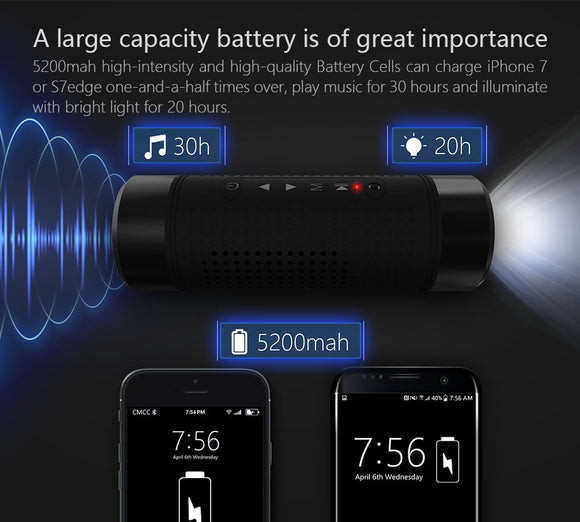 Bluetooth Wireless Smart Waterproof Outdoor Speaker with Flashlight and Bike Mount Kit - XPRESS DELIVERY OPTION AVAILABLE IN SOUTH AFRICA (AT REDUCED RATES)