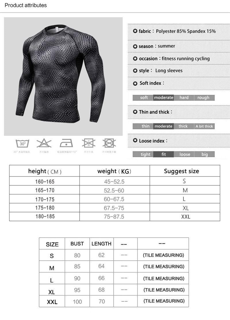 Men´s Compression Fitness T-shirt Long Sleeve