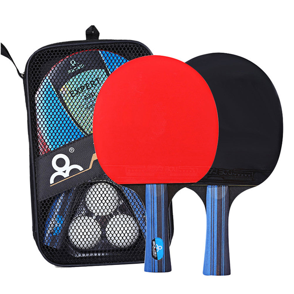 Table Tennis Racket Set 2 Ping Pong Paddles and 3 Ping Pong Balls Storage Pouch