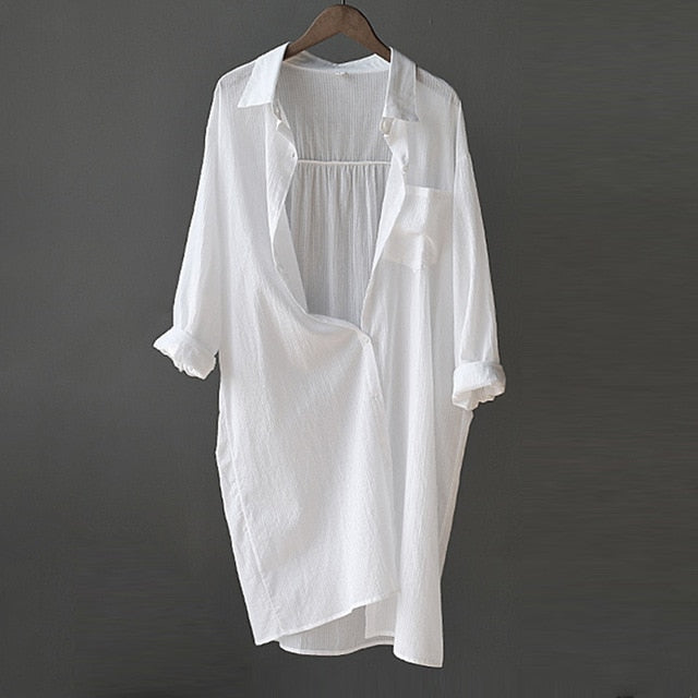Women's Casual Large White Long Sleeve