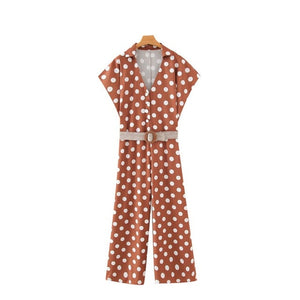 Chic Fashion Polka Dot With Belt Jumpsuit