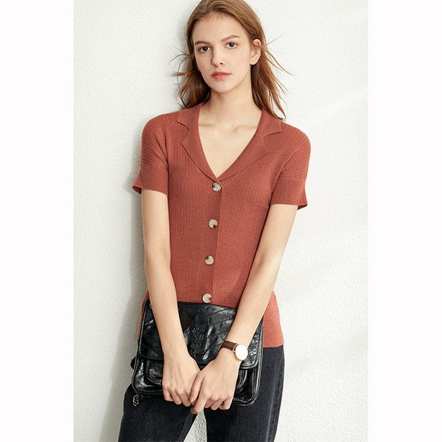Pring Summer Solid Causal Knit Shirt