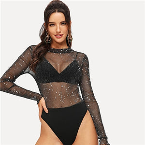 Women's Casual Party Glittery Transparent Bodysuit