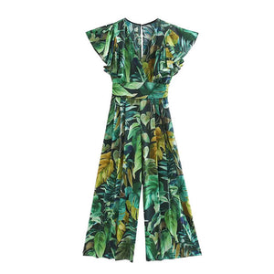 Women's Casual Chic Fashion Print Pleated Jumpsuits Vintage
