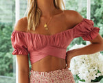 Load image into Gallery viewer, Short Sleeve Off Shoulder Crop Top Blouse