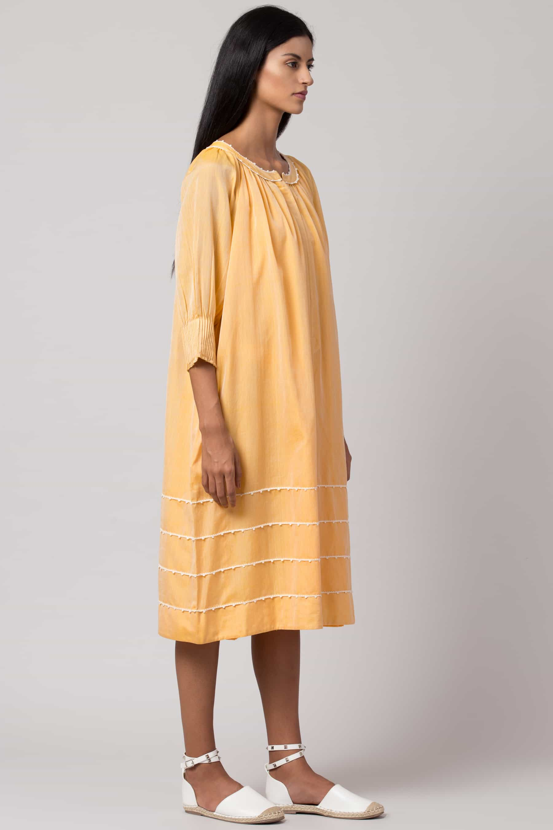 Cocoon Pintuck Dress