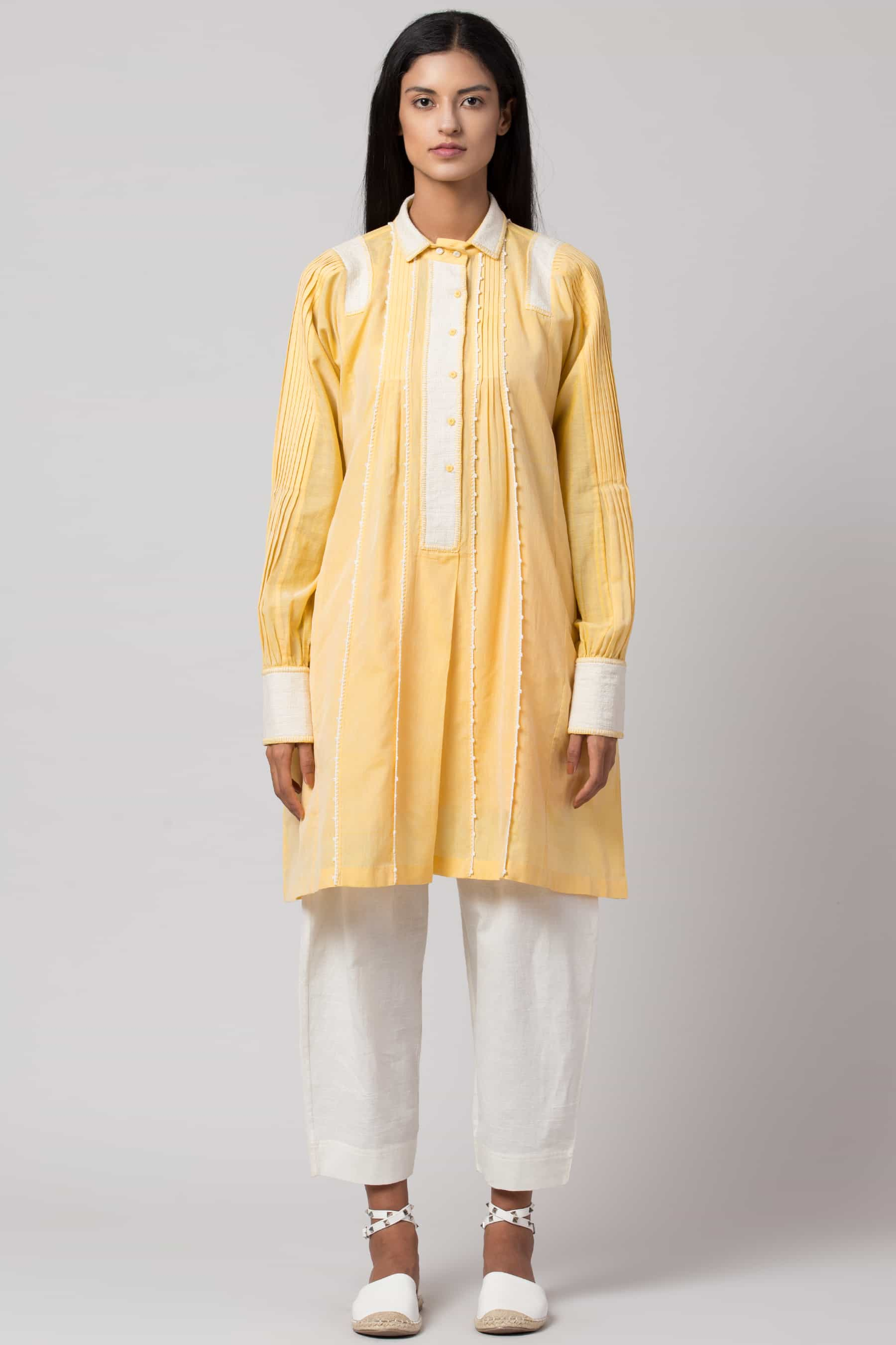 Yellow paneled crochet shirt dress made in 100% handwoven yarn dyed cotton Chanderi - Front