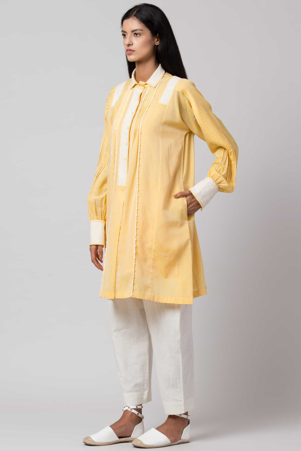 Yellow paneled crochet shirt dress made in 100% handwoven yarn dyed cotton Chanderi - side