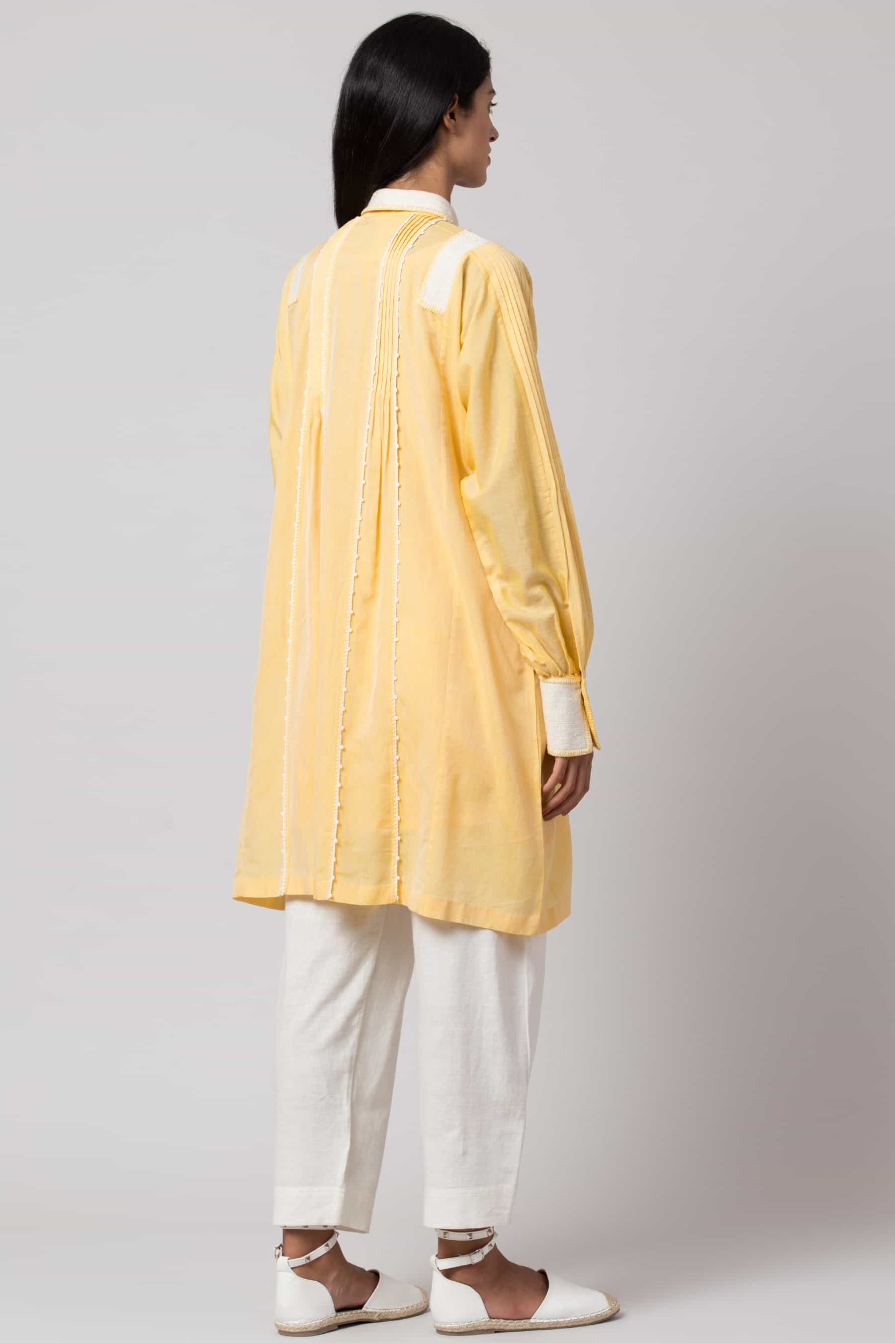 Yellow paneled crochet shirt dress made in 100% handwoven yarn dyed cotton Chanderi - Back