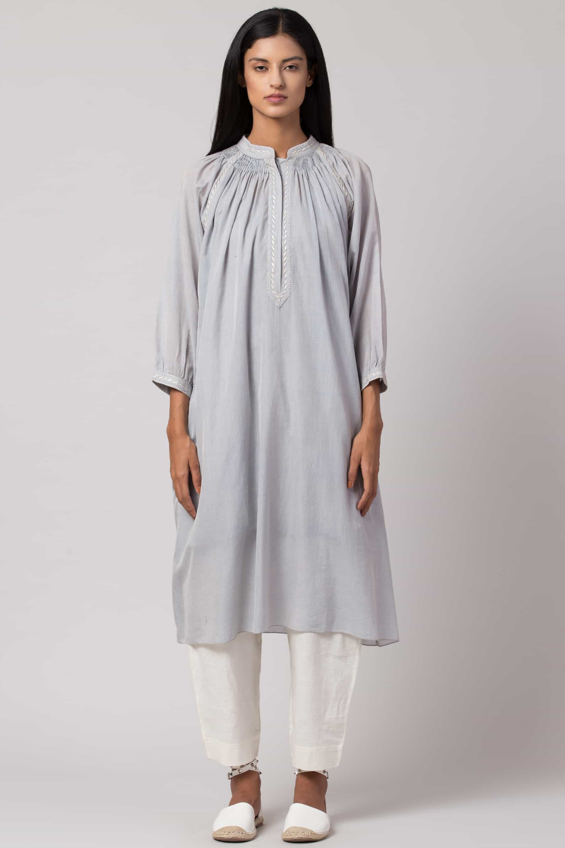 Baby blue Chikankari tunic made in 100% handwoven yarn dyed cotton Chanderi - front