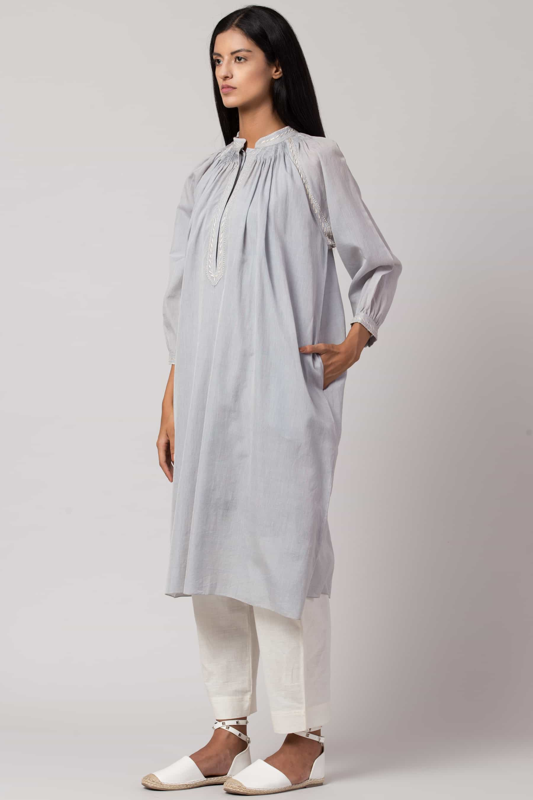 Baby blue Chikankari tunic made in 100% handwoven yarn dyed cotton Chanderi - side