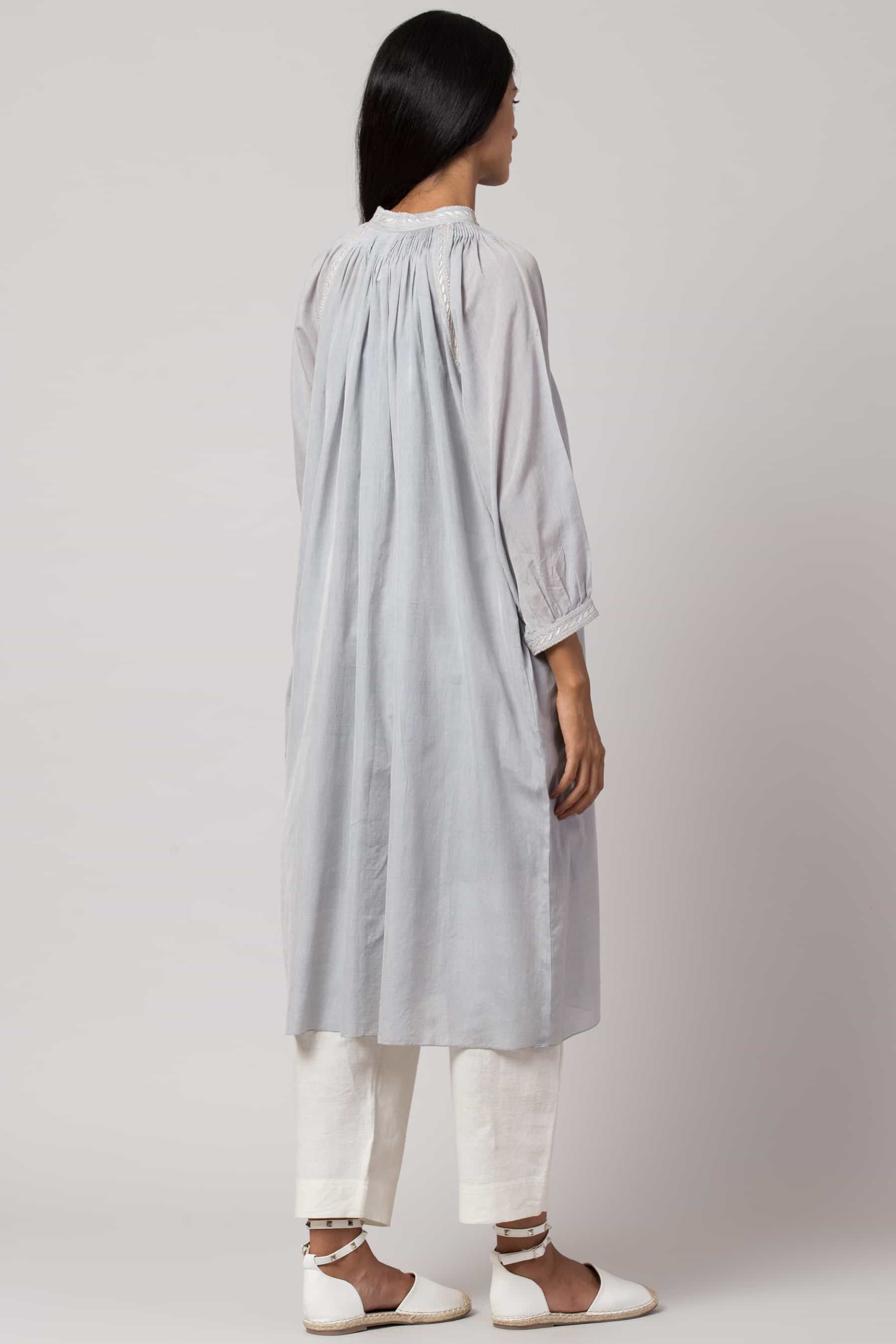 Baby blue Chikankari tunic made in 100% handwoven yarn dyed cotton Chanderi - back