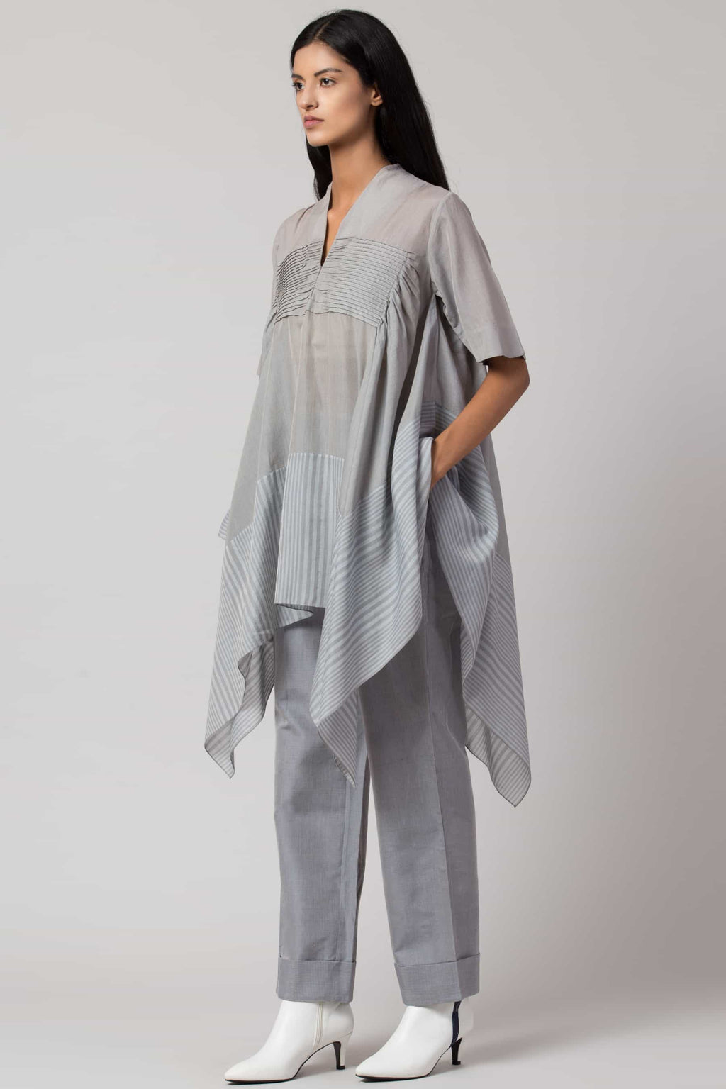 Baby blue draped asymmetric tunic made in 100% handwoven yarn dyed cotton Chanderi - side