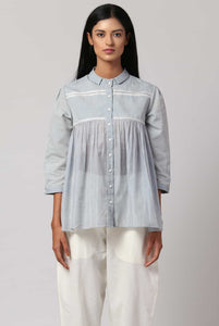 Baby blue hand embroidered shirt made in 100% handwoven yarn dyed cotton Chanderi - front