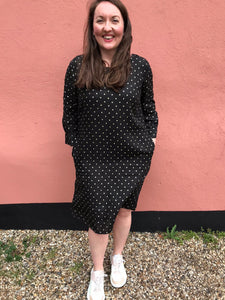 120% Linen Glitter Polka Dot Dress 4583F789G00