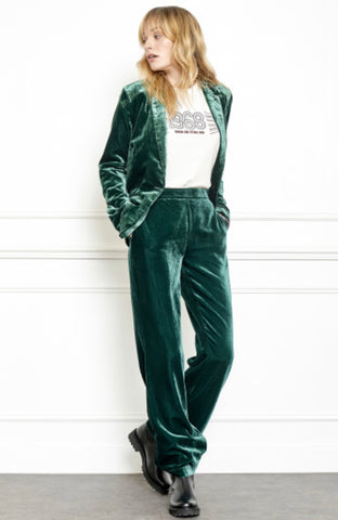 MKT Velvet pants Poulio in Green