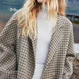 Wool Long Plaid  Overcoat
