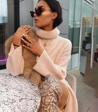 Oversized High Neck Knit Sweater