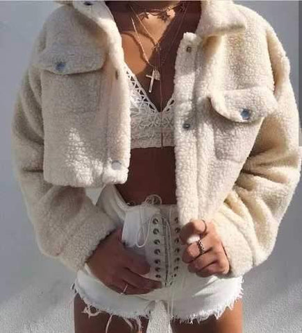 Cropped Teddy Faux Fur Jacket