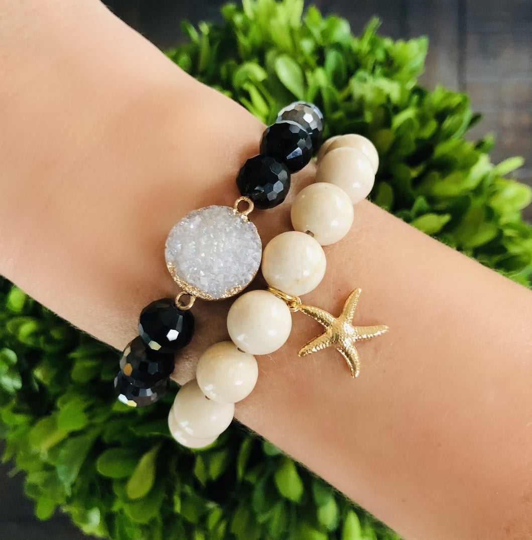 Black and Ivory Starfish Set