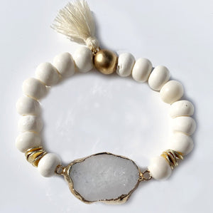 White Agate Stone with Bone Bracelet and Tassel