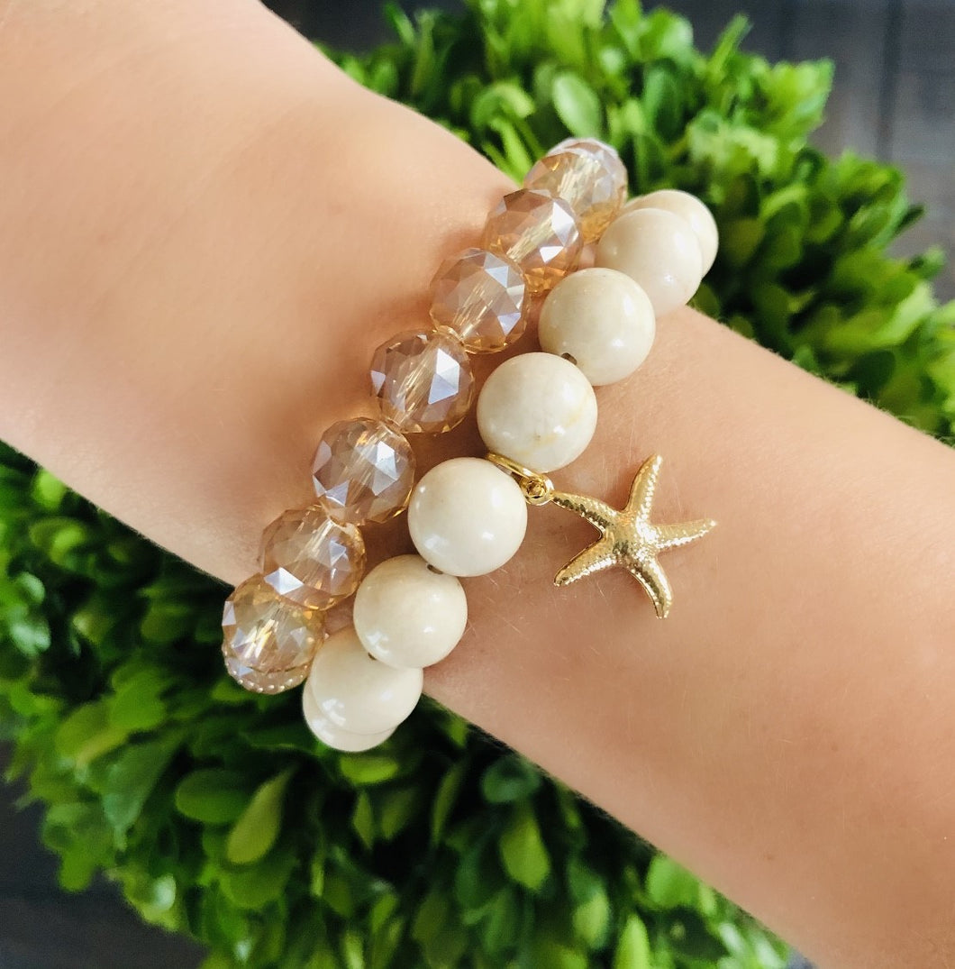 Ivory and Gold Starfish Set