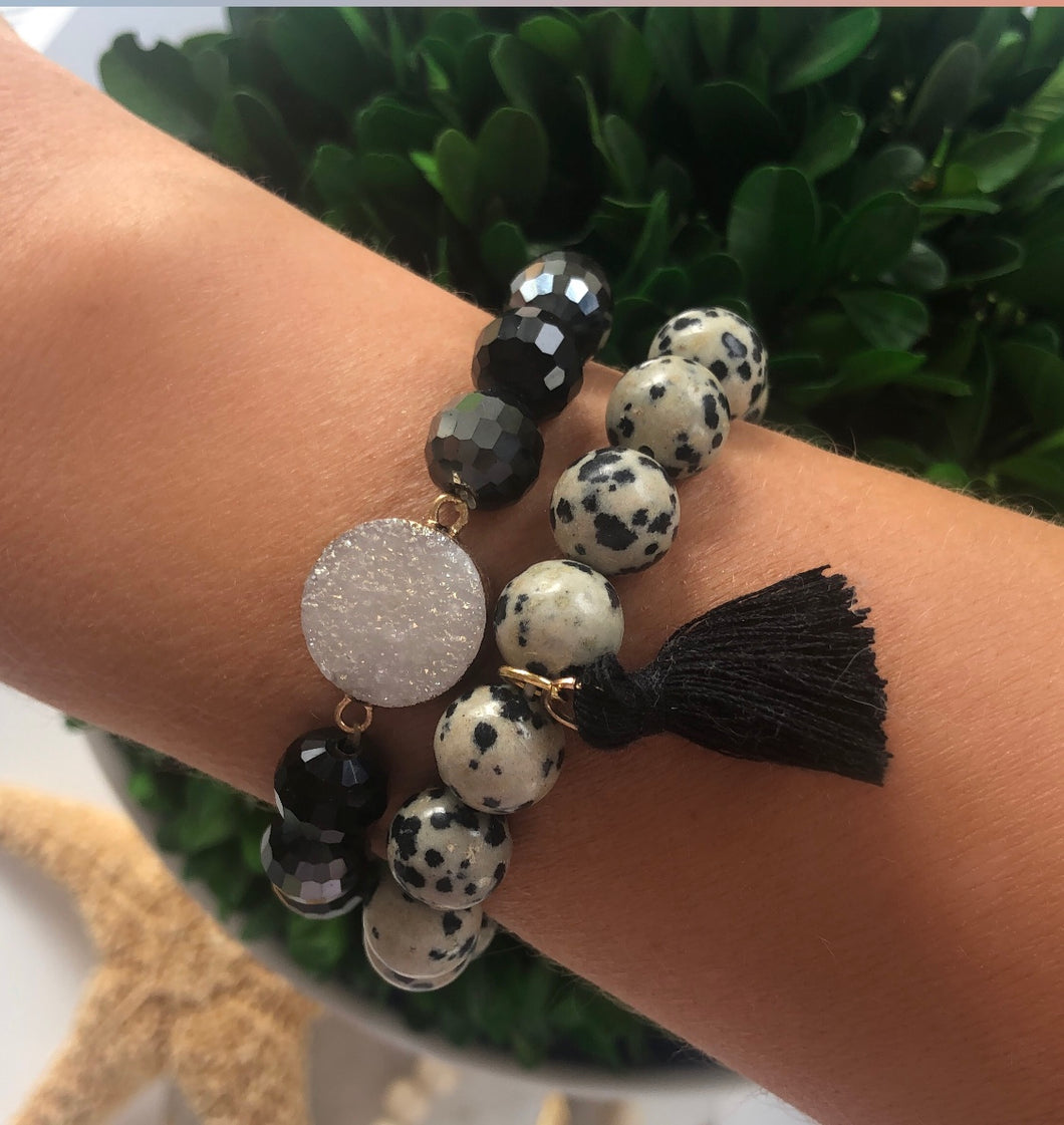 Black Dalmatian Tassel Set