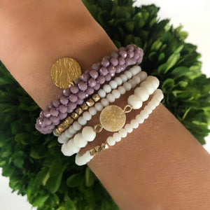 Plum Charm and White Multi