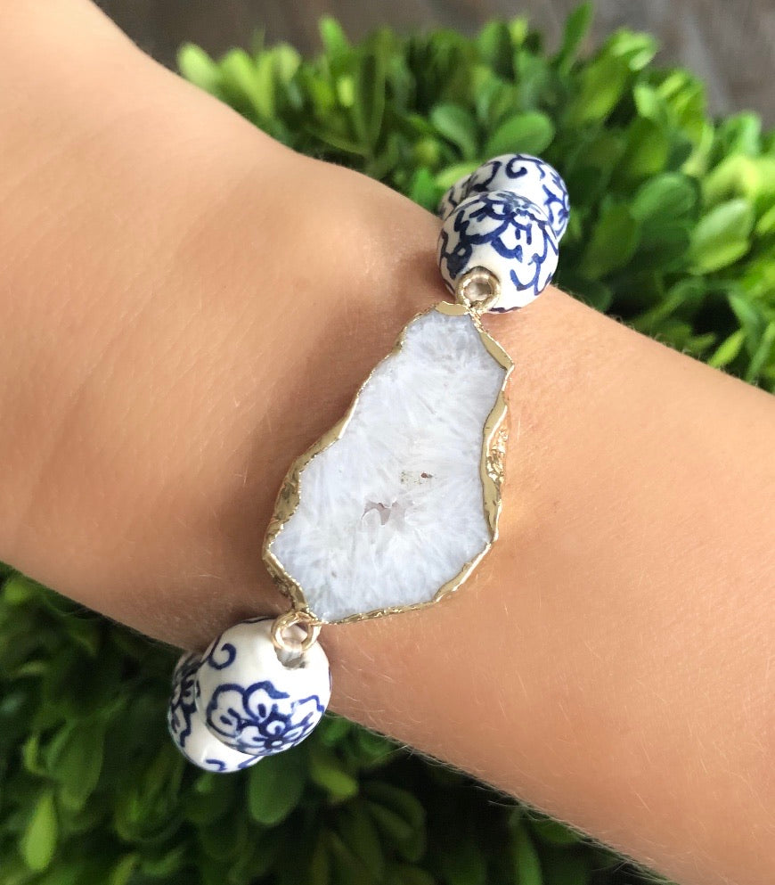 Blue and White Hand Painted Bracelet