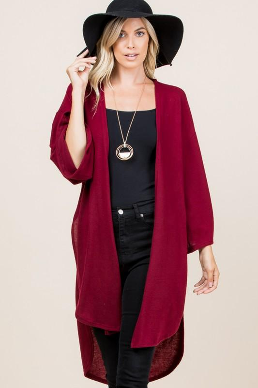 Solid Hacci Brush Long Cardigan - Shop Beauty By Elayne James