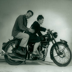 Charles and Ray Eames on Motorcycle