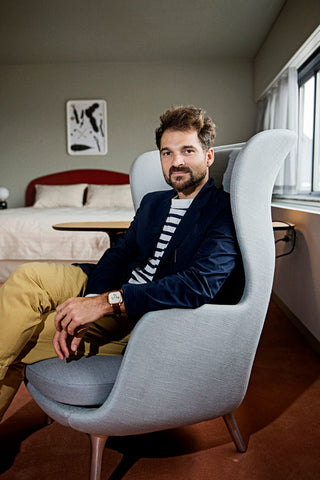 Jaime Hayon in Ro Chair for Fritz Hansen at Royal Hotel Room 506 in Copenhagen
