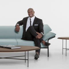 Terry Crews with the Ibis Sofa he created for Bernhardt Design