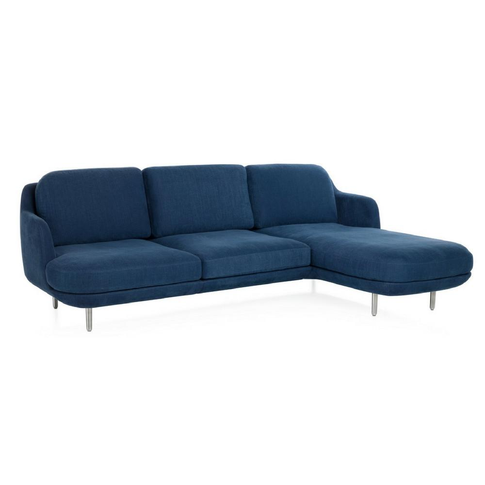 Fritz Hansen Lune Sofa with Chaise Lounge in Indigo by Jaime Hayon