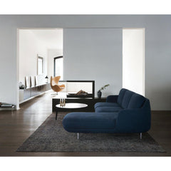 Fritz Hansen Lune Sofa with Chaise Lounge in Indigo by Jaime Hayon in Situ with Leather Egg Chair
