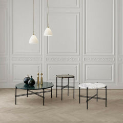 GUBI TS Coffee Tables in Room with Bestlite Pendants