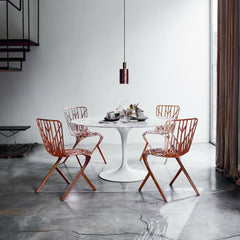 Saarinen Pedestal Table Round with David Adjaye Copper Washington Skeleton Chairs in Situ Knoll