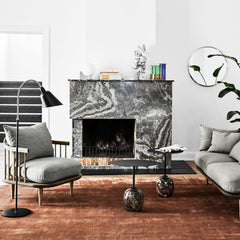 AJ7 Bellevue Floor Lamp in room with Space Copenhagen Fly Sofa and Chair