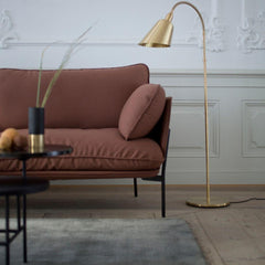 Brass AJ7 Bellevue Floor Lamp in room with Cloud Sofa And Tradition Copenhagen