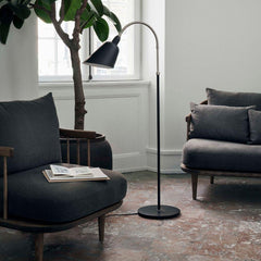 AJ7 Bellevue Floor Lamp in room with Space Copenhagen Fly Chairs