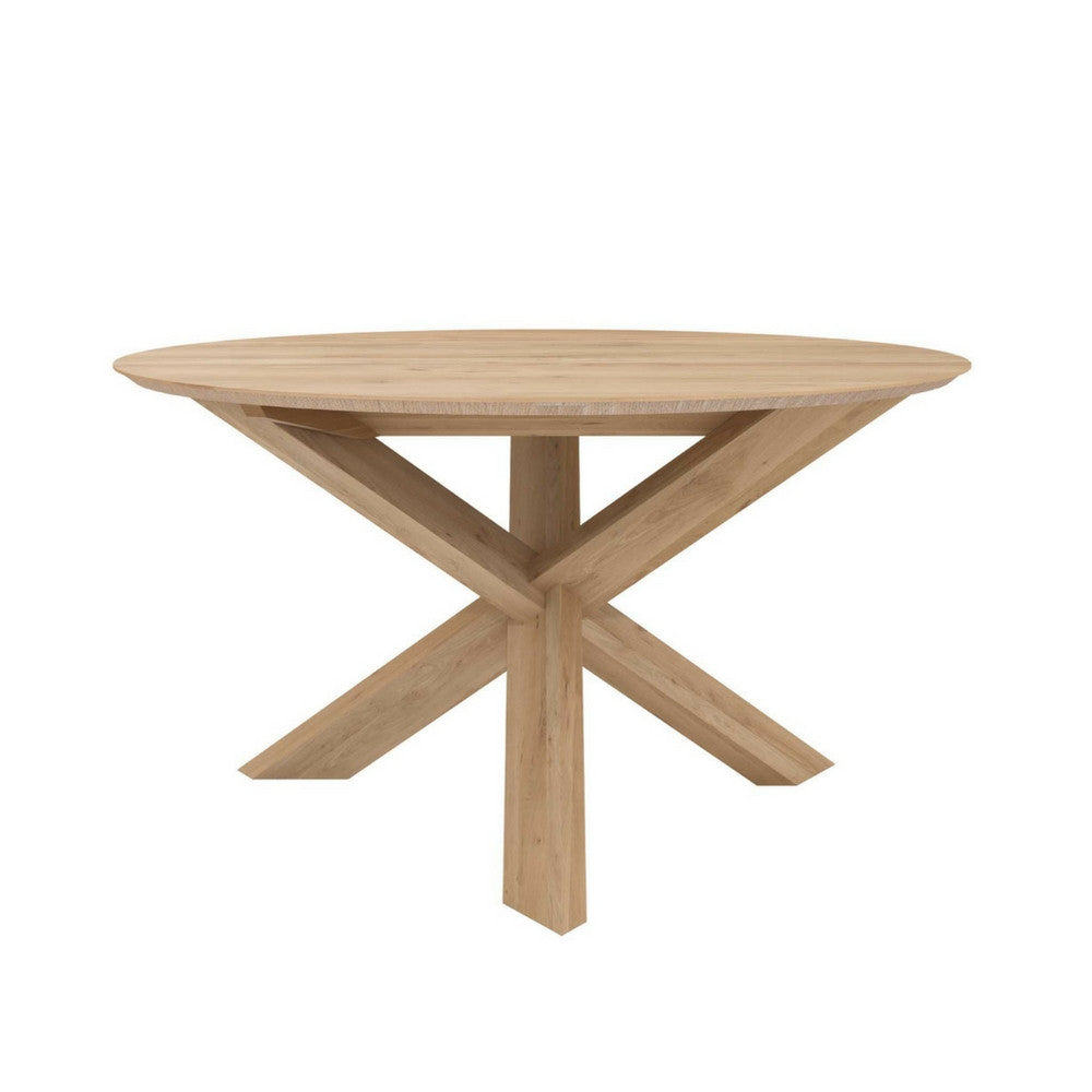 Small Oak Circle Dining Table by Ethnicraft by Alain Van Havre for Ethnicraft